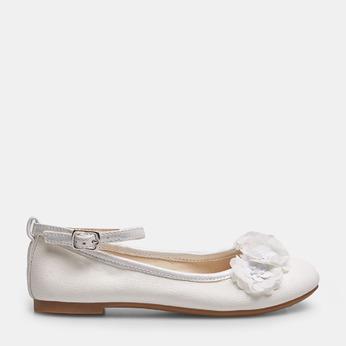 Dívčí bílé baleríny s kytičkami mini-b, bílá, 321-1162 - 13