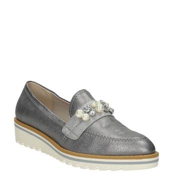 Stříbrné mokasíny s perličkami bata, stříbrná, 511-6610 - 13