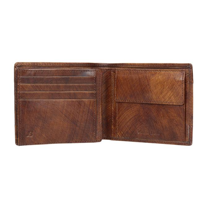 Pánská kožená peněženka s perforací bata, hnědá, 944-3192 - 15