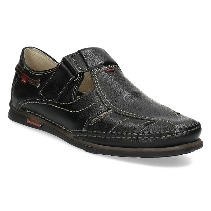 Kožené sandály s prošíváním fluchos, černá, 864-6605 - 13