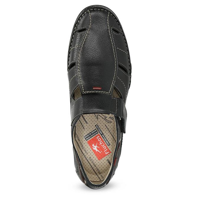 Kožené sandály s prošíváním fluchos, černá, 864-6605 - 17