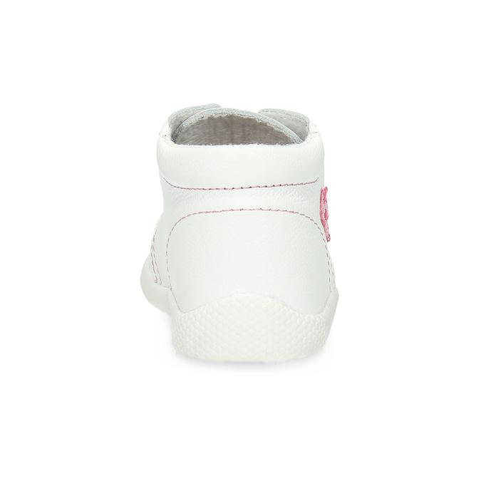 Dětská kožená kotníčková obuv dívčí bata, bílá, 124-1609 - 15