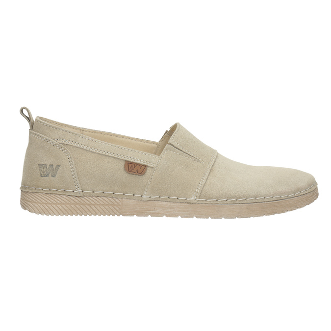 Kožená dámská Slip-on obuv weinbrenner, béžová, 536-8607 - 16