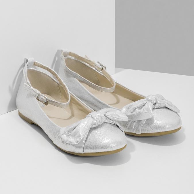 Stříbrné dívčí baleríny s mašlí mini-b, stříbrná, 329-1227 - 26