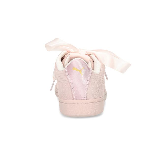Růžové kožené tenisky se saténovou mašlí puma, růžová, 503-5738 - 15