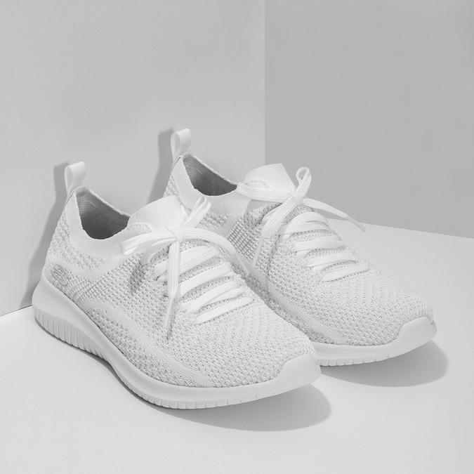 Bílé úpletové tenisky dámské skechers, bílá, 509-1992 - 26