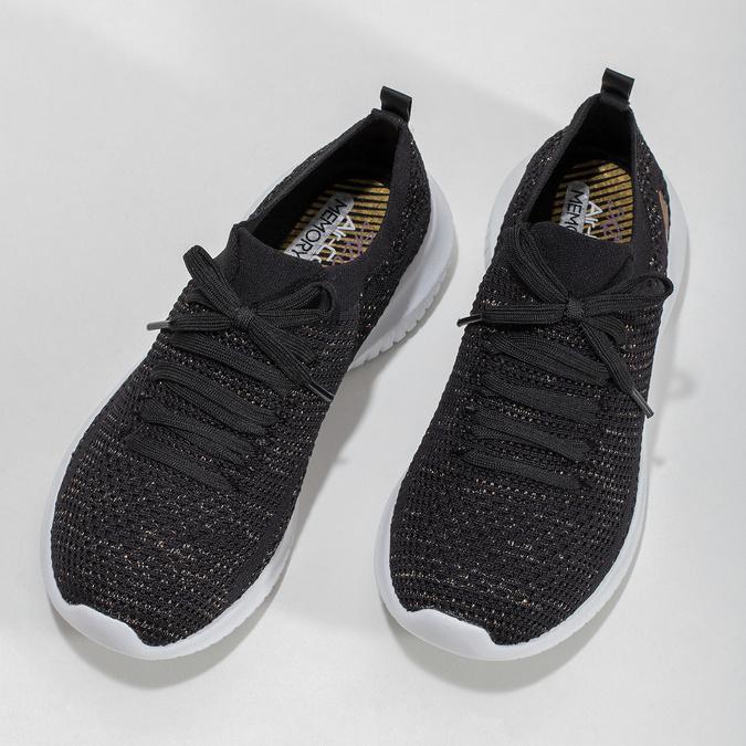 Černé úpletové tenisky se zlatými detaily skechers, černá, 509-6992 - 16