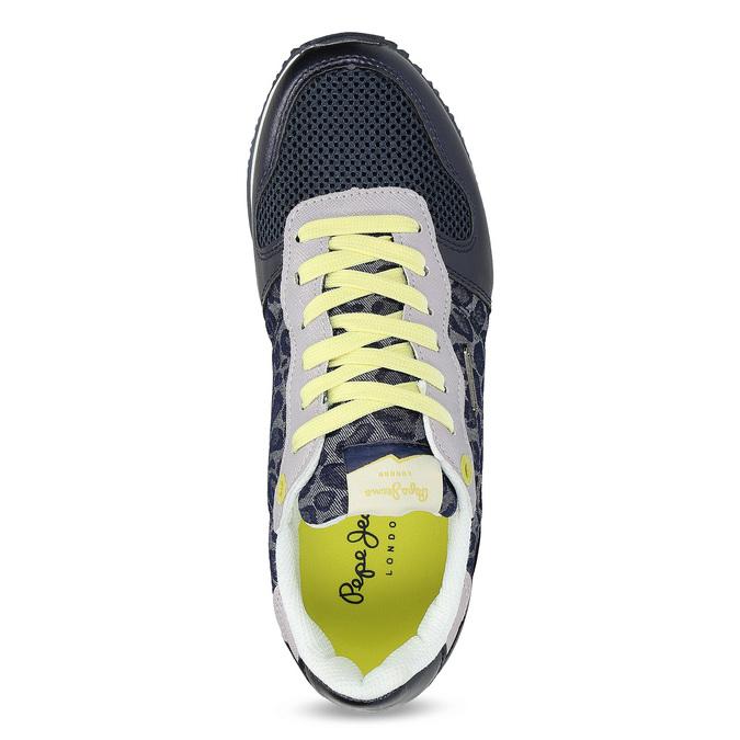Dámské tenisky se žlutými detaily a vzorem pepe-jeans, modrá, 549-9024 - 17