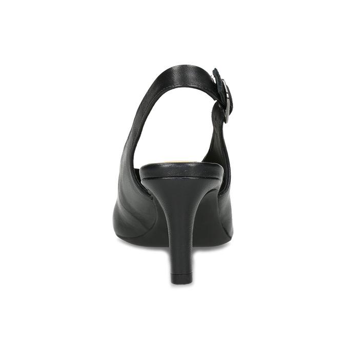Kožené černé lodičky s volnou patou clarks, černá, 728-6081 - 15