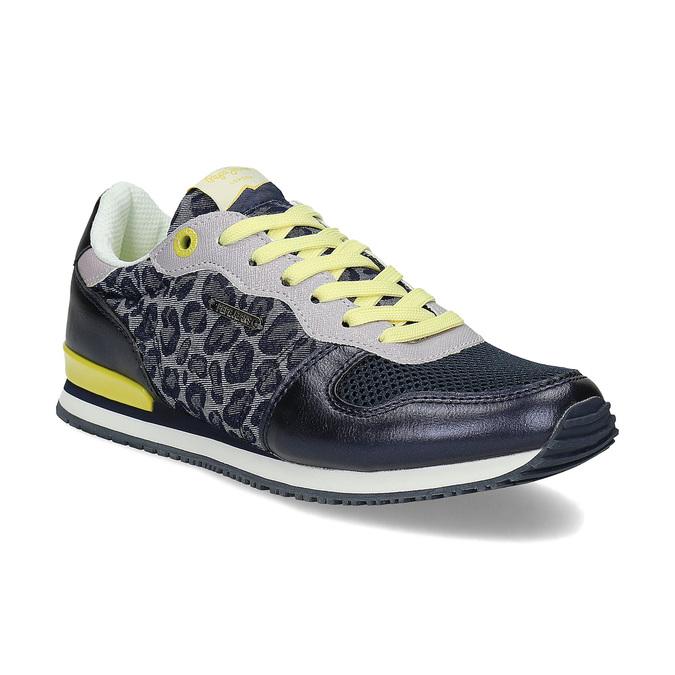 Dámské tenisky se žlutými detaily a vzorem pepe-jeans, modrá, 549-9024 - 13