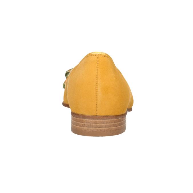 Kožené baleríny s barevnou mašlí gabor, žlutá, 523-8018 - 16