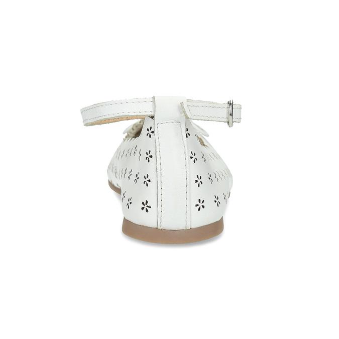 Dívčí kožené balerínky s perforací a květinami mini-b, bílá, 324-1273 - 15