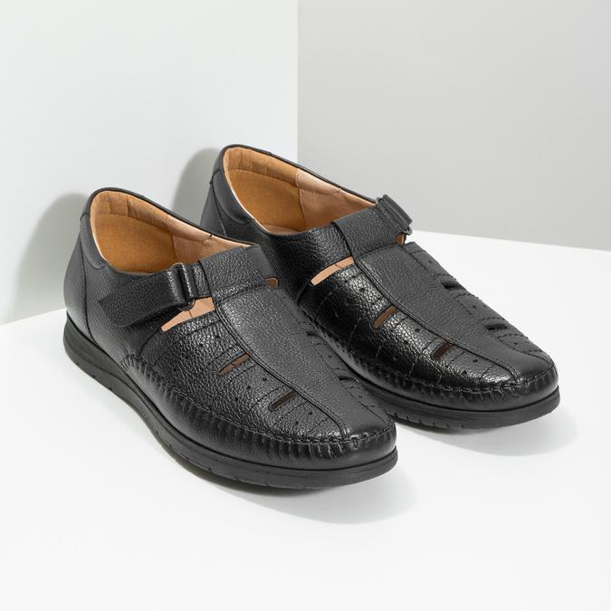 Kožené pánské sandály s pohodlnou podešví černé comfit, černá, 854-6602 - 26