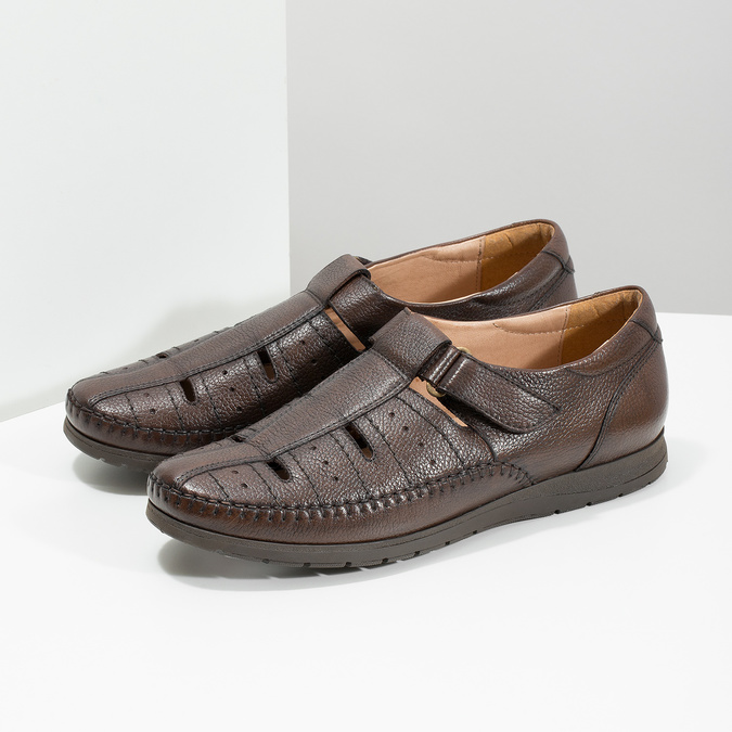 Pánské kožené sandály s pohodlnou podešví comfit, hnědá, 854-4602 - 16