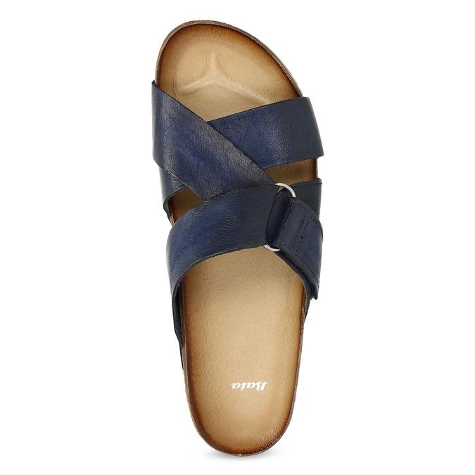 Kožené modré nazouváky bata, modrá, 866-9647 - 17