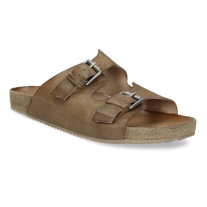 Pánské kožené nazouváky bata, hnědá, 866-4648 - 13