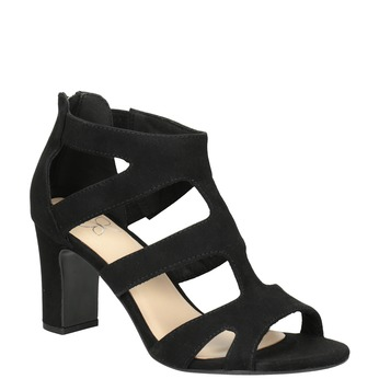 Černé sandály na stabilním podpatku insolia, černá, 769-6617 - 13
