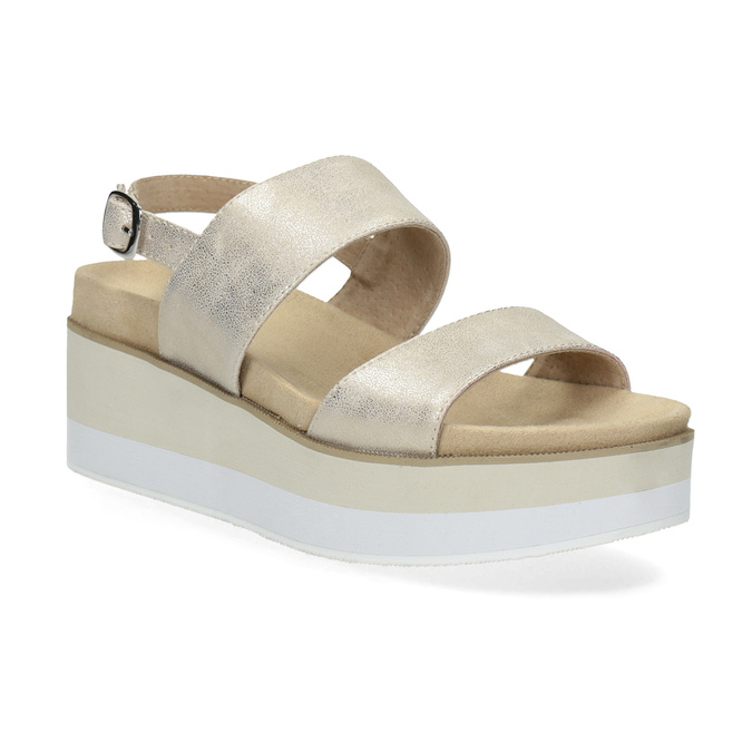Béžové metalické sandály na flatformě bata, zlatá, 761-8632 - 13