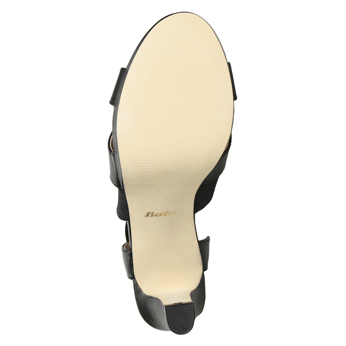 Černé kožené sandály na podpatku s pružením insolia, černá, 766-6606 - 19