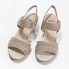 Kožené sandály šíře H s kamínky bata, béžová, 666-8616 - 16