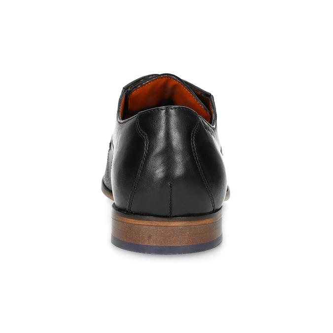 Pánské kožené černé polobotky se strukturou bugatti, černá, 826-6014 - 15