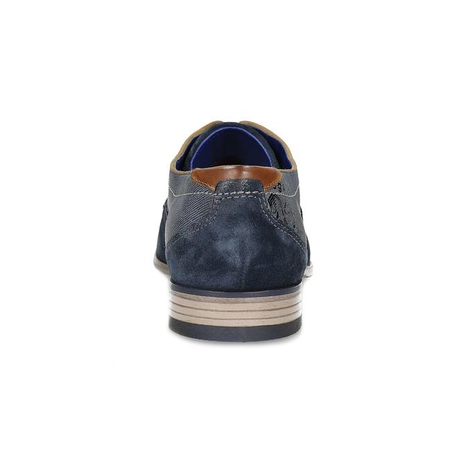 Tmavě modré kožené derby polobotky bugatti, modrá, 823-9016 - 15
