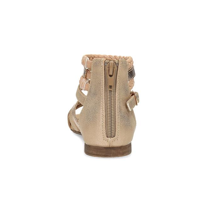 Zlaté dívčí sandály s pletením mini-b, zlatá, 361-8605 - 15