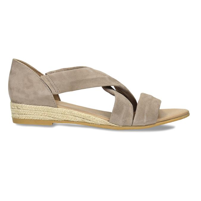 Kožené sandály na klínku bata, hnědá, 563-4600 - 19