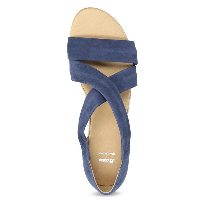 Kožené sandály na klínku modré bata, modrá, 563-9600 - 17