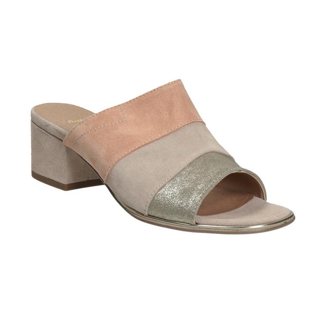 Kožené nazouváky na podpatku růžové bata, růžová, 666-8625 - 13