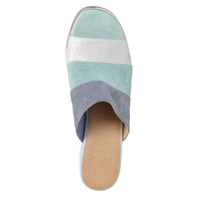 Kožené nazouváky na podpatku modré bata, modrá, 666-9625 - 17