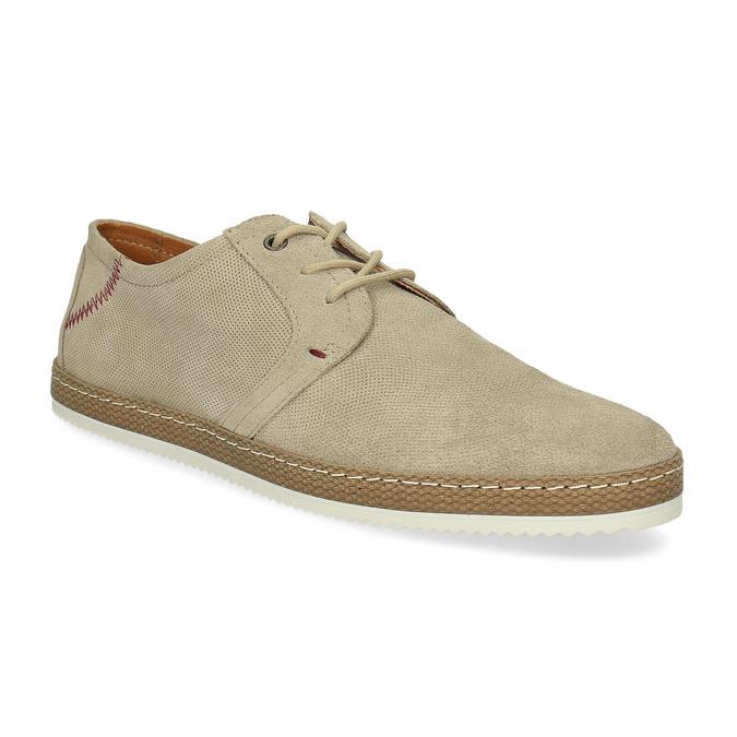 Pánské kožené tenisky s perforací béžové bata, béžová, 823-8617 - 13