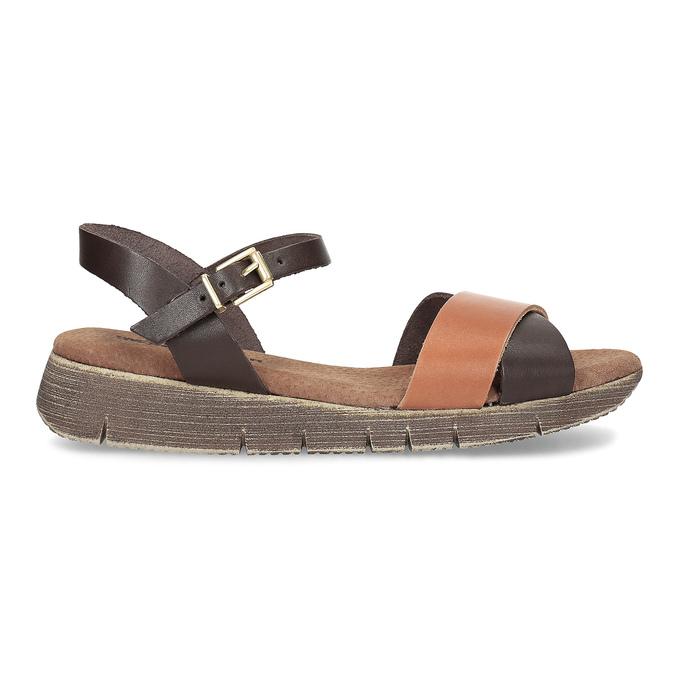 Dámské hnědé kožené sandály weinbrenner, hnědá, 566-4642 - 19