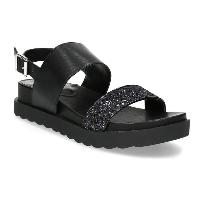 Černé sandály se třpytkami na vyšší podešvi bata-light, černá, 561-6617 - 13