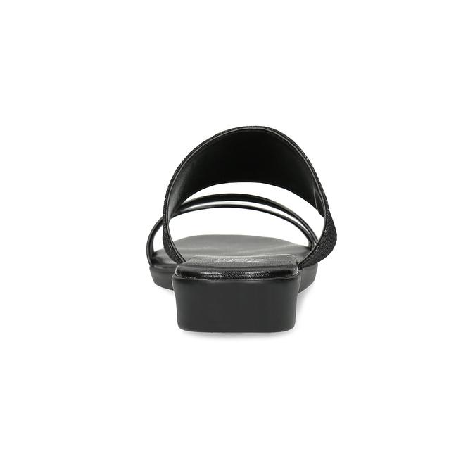 Černé třpytivé nazouváky na klínku comfit, černá, 561-6610 - 15