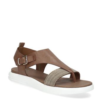 Hnědé dámské sandály na výrazné podešvi bata-light, hnědá, 561-4616 - 13