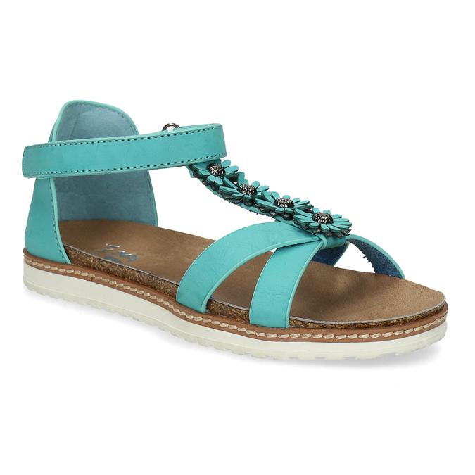 Tyrkysové dívčí sandály mini-b, tyrkysová, 361-9614 - 13