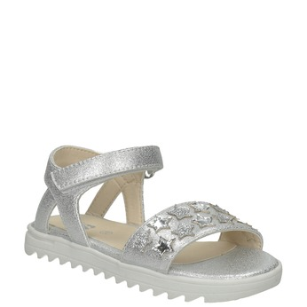 Stříbrné dívčí sandály s hvězdičkami mini-b, stříbrná, 261-1211 - 13