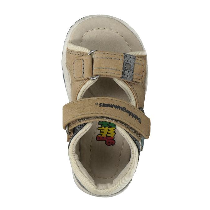 Dětské sandály na suché zipy bubblegummers, hnědá, 161-3606 - 17