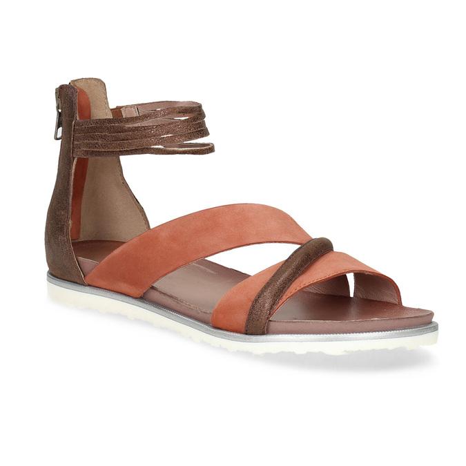 Kožené sandály s plnou patou bata, oranžová, 566-5646 - 13