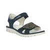 Dívčí kožené sandály s kamínky modré mini-b, modrá, 463-9603 - 13