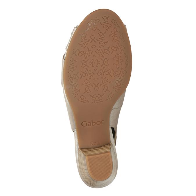 Kožené sandály na stabilním podpatku šíře H gabor, zlatá, 666-8020 - 17