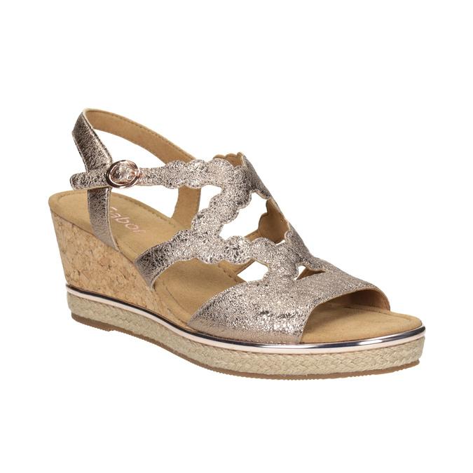 Kožené zlaté sandály na platformě gabor, zlatá, 766-8043 - 13