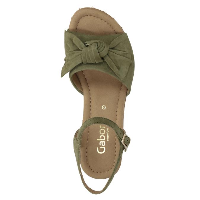 Khaki kožené sandály na klínku šíře G gabor, khaki, 763-7004 - 15