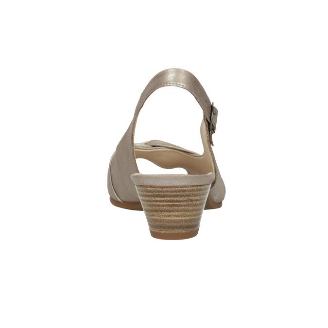 Kožené sandály na stabilním podpatku šíře H gabor, zlatá, 666-8020 - 16