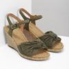Khaki kožené sandály na klínku šíře G gabor, khaki, 763-7004 - 26