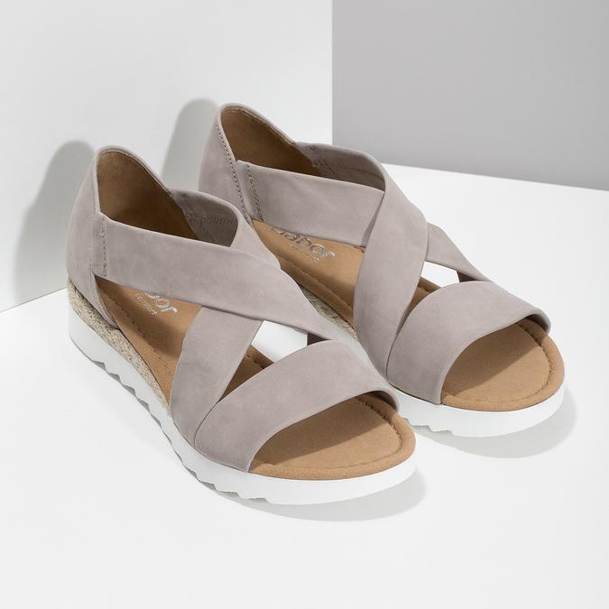 Kožené sandály šíře G gabor, béžová, 666-8347 - 26