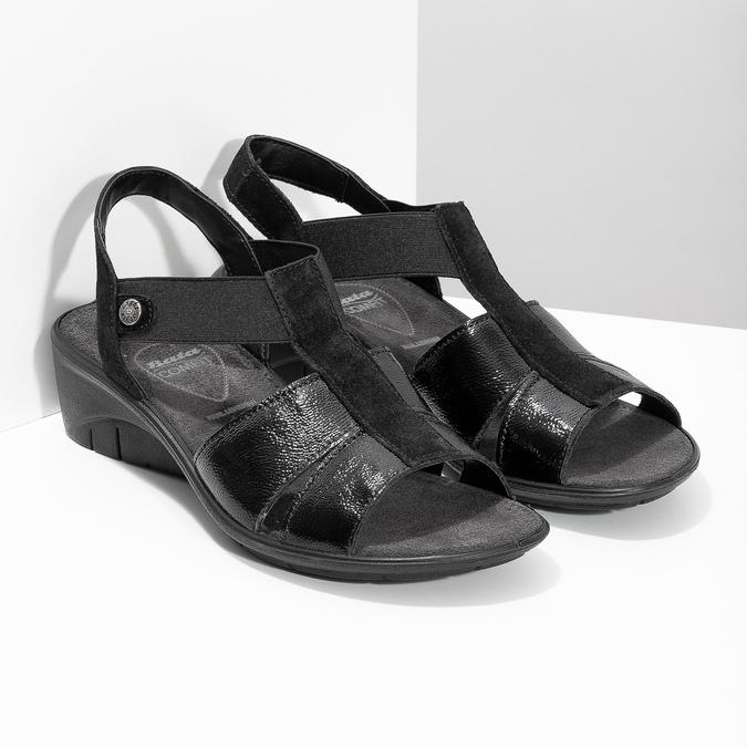 Černé kožené sandály na klínovém podpatku comfit, černá, 666-6620 - 26