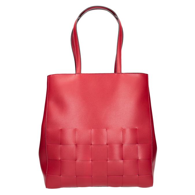 Prostorná červená kabelka s proplétáním bata, červená, 961-5236 - 26