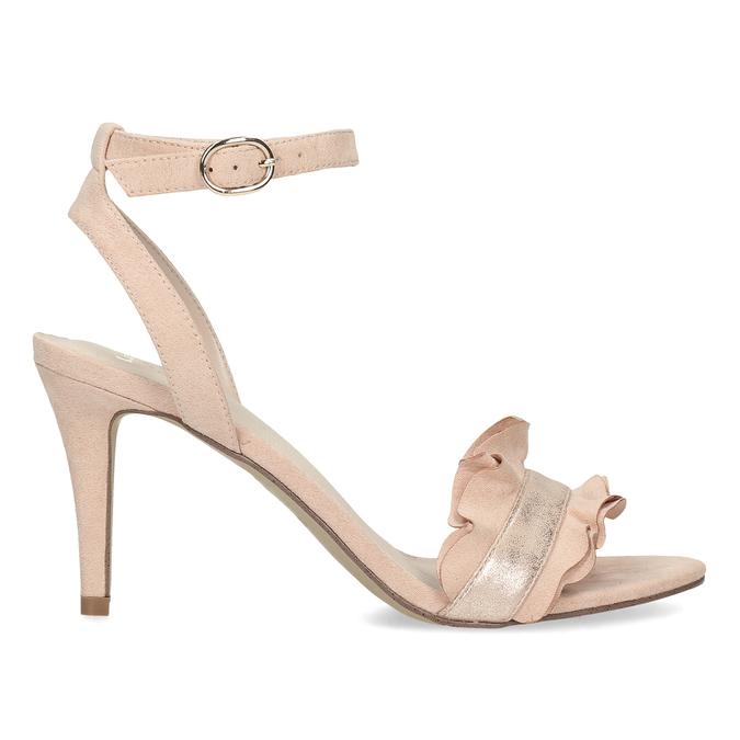 Růžové sandály na jehlovém podpatku s volánem insolia, růžová, 769-5619 - 19